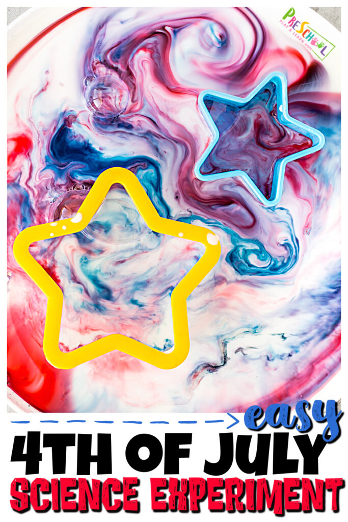 Celebrate the4th of July for kids with really fun and simple 4th of July science experiments. Thisfourth of July activity is a fun twist on the classicmagic milk experiments to make it feel like your toddler, preschool, pre-k, kindergarten, first grade, and 2nd graders are creating fireworks. In thisred white and blue science project kids will learn some basic chemistry for kids with anindependence day activity.