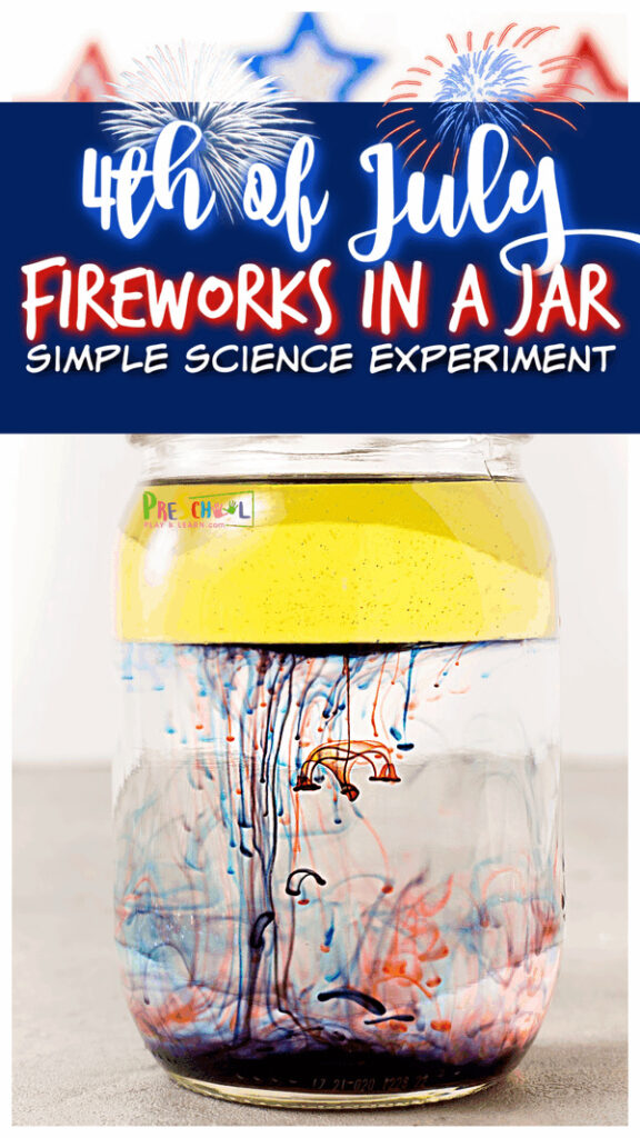 Make your own fireworks in a jar with thisIndependence Day Activities! For these firework activities, children will be doing anoil and water experiment with a twist to make pretty red, white and blue4th of July science experiments. Thissummer experimentis such a fun, patritic4th of July activity for toddler, preschool, pre-k, kindergarten, first grade, 2nd grade, and 3rd graders to learn about thedensity of oil and water.