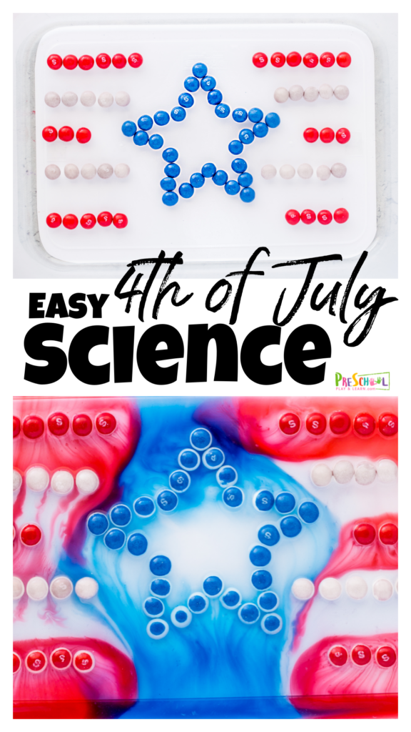 My kids love themed activities almost as much as they lovecandy science! Thisred white and blue scienceproject combines them both for colorful, fun independence day activitiesthat explore how things dissolve. Thisfourth of July science allows kids to have fun learning a simple science principle while having some fun with 4th of July activitiesfor toddler, preschool, pre-k, kindergarten, first grade, and 2nd graders.