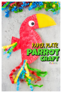 Create this bright and colorfulparrot craft with just a few simple materials! This super cutepaper plate parrot is perfect for toddler, preschool, pre-k, kindergarten, and first grade students. Whether you are doing the letter b is for birds or p is for parrot, thisbird craft is great for strengthening hand muscles while creating a super cutepaper plate craft!
