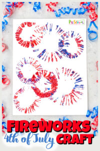 This4th of july crafts idea is such a fun, simple, and pretty firework craft for kids of all ages. Make your fireworks in a multitude of colors and sprays or patriotic red, white and blue as you make this 4th of july activity! This4th of july crafts for preschoolersis fun with toddler, preschool, pre-k, kindergarten, first grade, and up!
