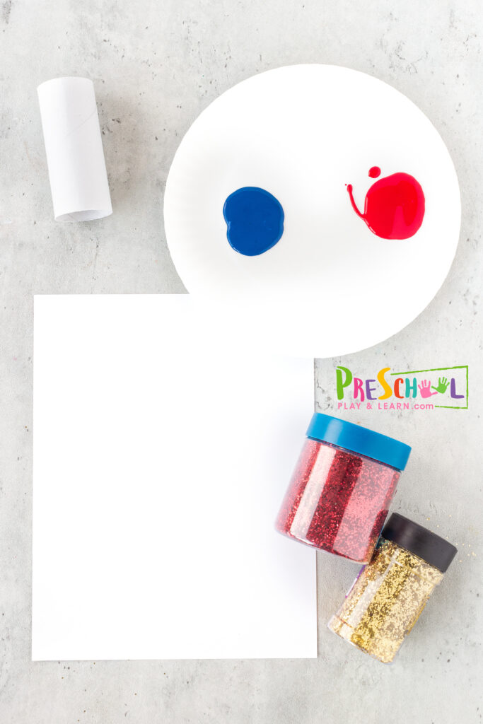 All you need to try thisfire work craft idea are a few simple materials you probabaly already have on hand at home including: tp roll, dixie cup, paper towel roll, etc. red paint blue paint white paint glitter - any color you like paper - white or black are my favorite choices scissors, glue paper plate - optional smock - optional