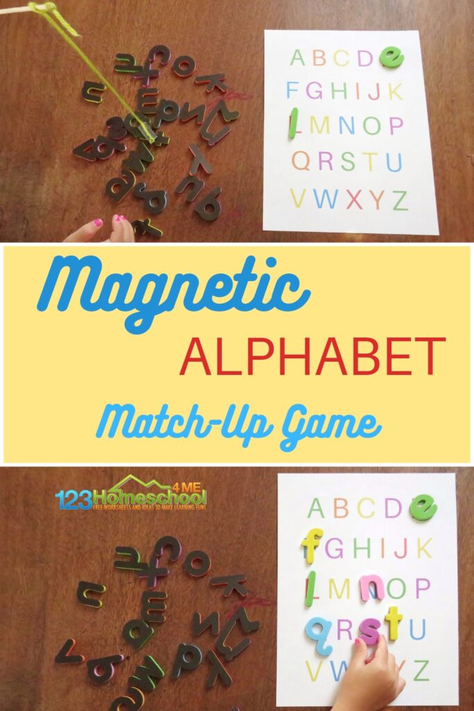 Looking for a fun new way to familiarize your preschooler or kindergartener with the alphabet? Try the magnetic alphabet matchup game! This unique game is funways to use magnetic letters your kids are sure to remember. Simply print alphabet printable and you are ready to play this magnetic abcgame!
