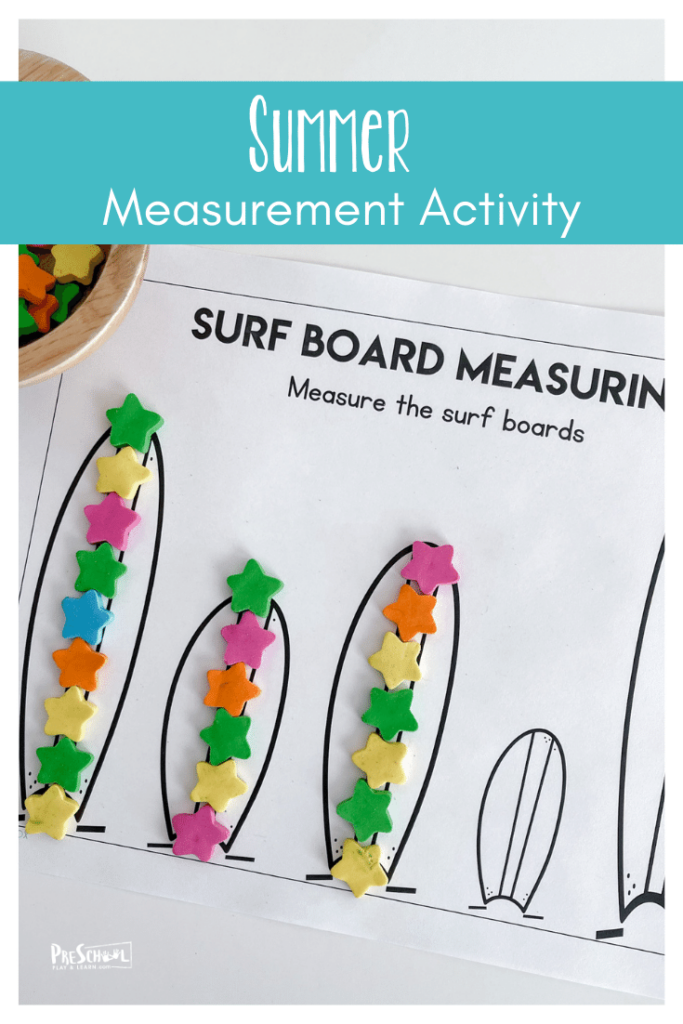 Summer is a great time to sneak in some fun math skills like preschool measuring! This measuring activities for preschool helps pre-k and kindergarten age students work on some fun preschool summer math. While this measurement activity probably seems a little unconventional to adults but they are utterly engaging to kids. We want to hook our kid's interest and attention by focusing on hands-on play and manipulatives that they can touch and feel while they learn. Simply print pdf file withsummer worksheets for preschoolers and you are ready for apreschool summer activity.
