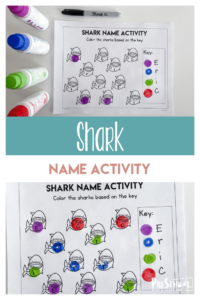Looking for a fun, engaging Preschool Name Activity? There are lots of fun name games for preschoolers, but sometimes you just want a quick and easy name recognition worksheet! This name recognition preschool activity uses a shark theme to keep pre-k and kindergarten age kids interested while learning letters that spell their name. Simply print pdf file withname recognition activities for preschool and you are ready to play and learn!