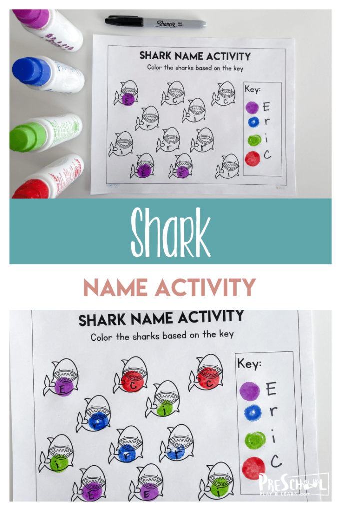 Looking for a fun, engaging Preschool Name Activity? There are lots of fun name games for preschoolers, but sometimes you just want a quick and easy name recognition worksheet! This name recognition preschool activity uses a shark theme to keep pre-k and kindergarten age kids interested while learning letters that spell their name. Simply print pdf file with name recognition activities for preschool and you are ready to play and learn!