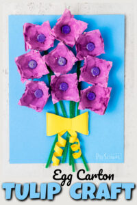 Make a beautiful springtulip craft while recycling an old egg cartoon in this funflower craft for kids. Thistulip craft for kidsis fun for all ages from preschool, pre-k, kindergarten, first grade, 2nd grade, 3rd grade, and up. This is such a funtulip craft idea to make a pretty bouquet of tulips for amother's day craftor simply aflower craft for a spring craft for kids or flower theme.