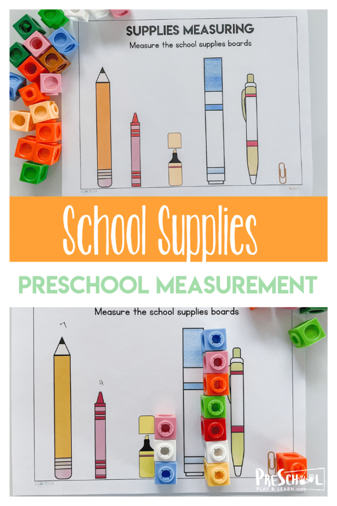 This back to school activity is a fun way for preschool, pre-k, and kindergarten age kids to learn about measuring! These preschool measurement activities us a measurement worksheets along with manipluatives for a FUN, hands-onmath activity for preschoolers. By using manipulative we are able to engage our kids in math and creative thinking skills. Simply printback to school worksheetand you are ready to play and learn!
