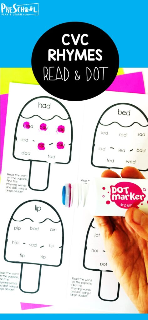 Summer is a great time to sneak in some extra learing with funsummer activities for preschoolers and kindergartners. Thiscvc word activity lets children practice reading simplecvc words with a NO PREP rhyming worksheets preschool.Simply print thedot marker printables then ready, rhyme, and dab the popsicles.