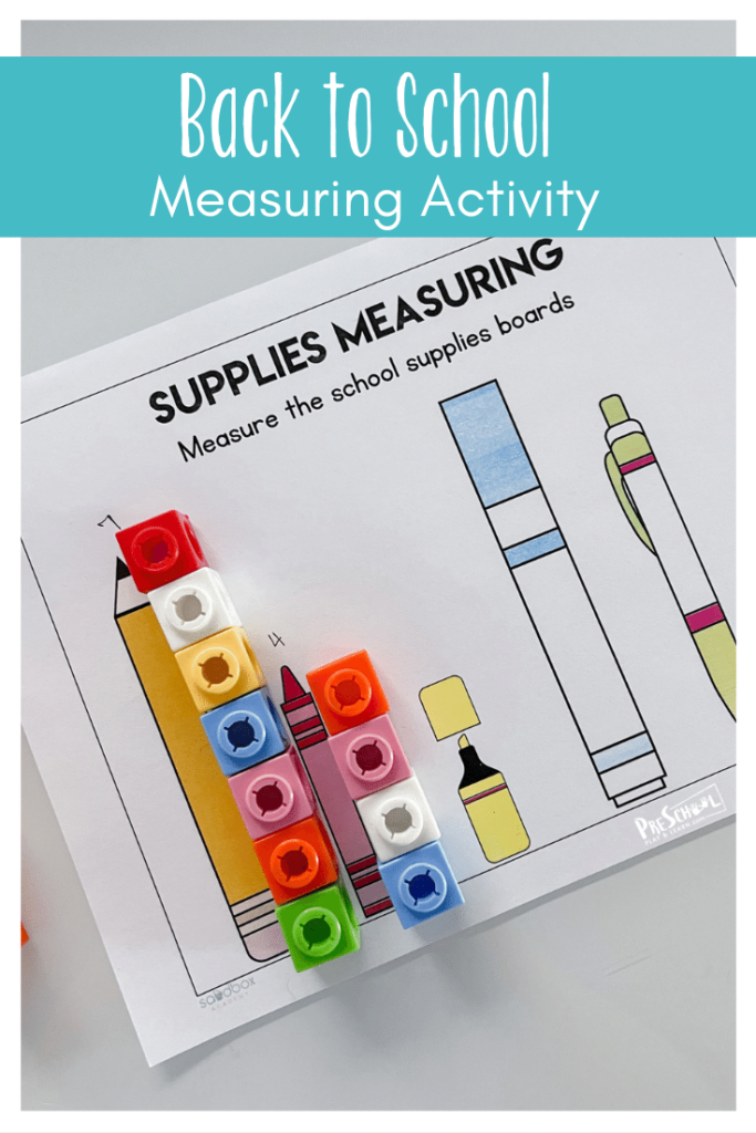Cute back to school activity that uses a free printable math worksheets as a preschool measurement activities.