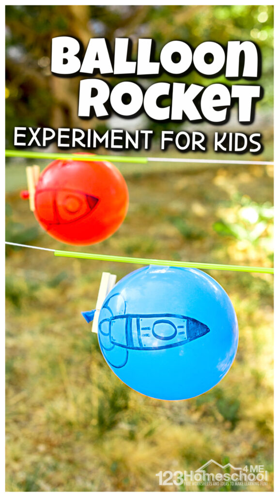 I love it when a coolsummer experiment is so easy it only takes a couple minutes! Thisballoon rocket experiment is such a funballoon activity for kids that teaches some simply physics while having fun. All you need for thisballoon straw rocket are a few simple materials and you are ready to start learning, exploring, and having fun withballoon science! Thisballoon experiment is fun for preschool, pre-k, kindergarten, first grade, 2nd grade, 3rd grade, and 4th graders too.