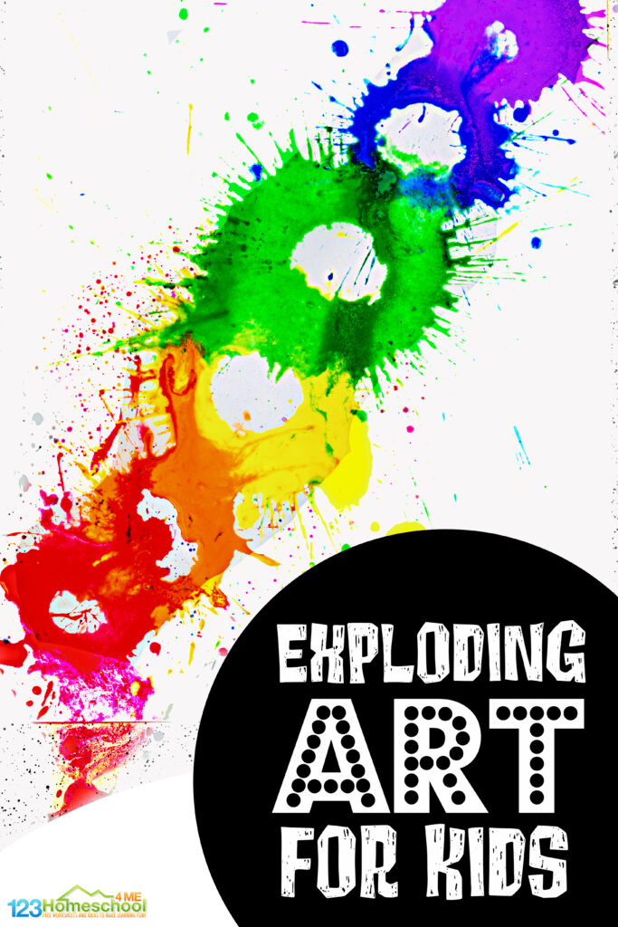 Get ready for an EPICexploding paint art project that will thrill kids of all ages! In thispaint explosion kids will create a very unique work of art with the fun process of painitng usingalka seltzer for kids! This silly, zany, and outrageously FUNsummer art project is sure to delight even your art resistent crowd that doens't like making crafts. These film canister rocket activity is perfect for toddler, preschool, pre-k, kindergarten, first grade, 2nd grade, 3rd grade, and 4th graders too.