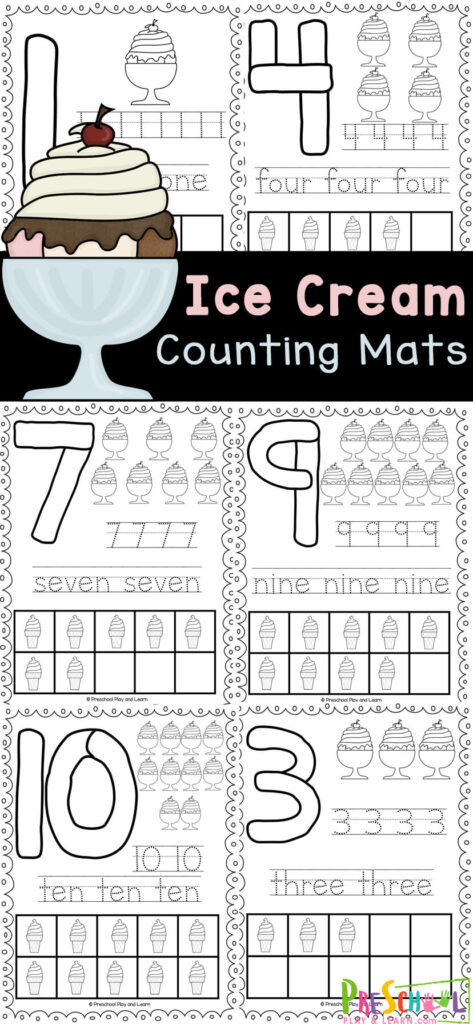 Help kids learn to make their numbers with these super cute, summer themed, playdough number mats. These ice cream printables help children practice making numerals, tracing numbers, learning number words, and more! This ice cream worksheets preschool are prefect for pre-k, kindergarten, and toddler age children. This ice cream activity is a great hands-on learning activity for kids to do at home, for busy bags, or in the car during a family road trip. Simply print ice cream math activity and you are ready to play and learn!