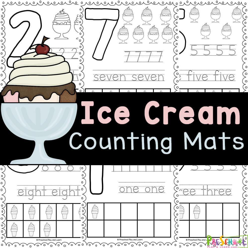 Cute Ice Cream Printables that use playdough number mats to work on numerals 1-10, tracing numbers, and more! Fun summer activity!
