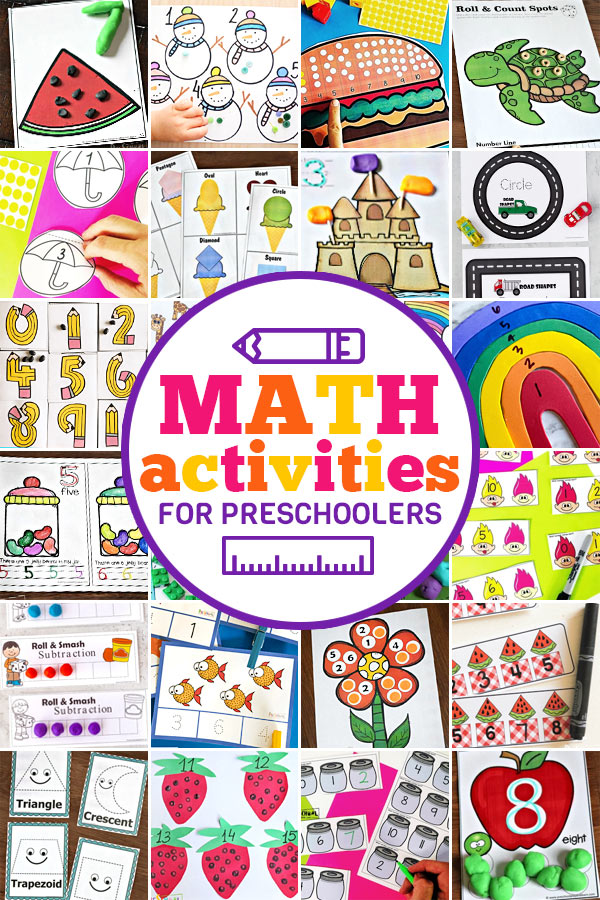 Help kids learn Preschool Math with these fun, creativem and freemath activiteis for preschoolers! We've included preschool math games, preschool math activities, preschool math worksheets, tracing numbers, and lots of counting and number games too! We have both free printable preschool math and lots of hands-on activities because kids learn best when they are having FUN!
