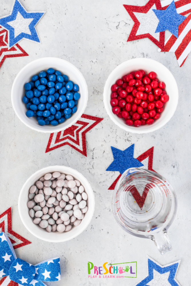 Independence Day Activities You will love that all you need for thisskittle science experimentare 3 ingredients: red, white, and blue skittles (4th of July bag) hot water pie plate or dish with lip