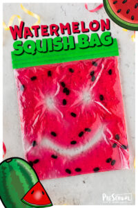 Looking for a quick, easy, and fun watermelon activities for preschoolers? Thiswatermelon squish bag is a funwatermelon activity for children to use as asummer activityor along with awatermelon theme. This NO MESS activity allows toddler, preschool, pre-k, kindergarten, and first graders to draw, write letters, or squish the watermelon looking sensory bag. So simple, but so fun!