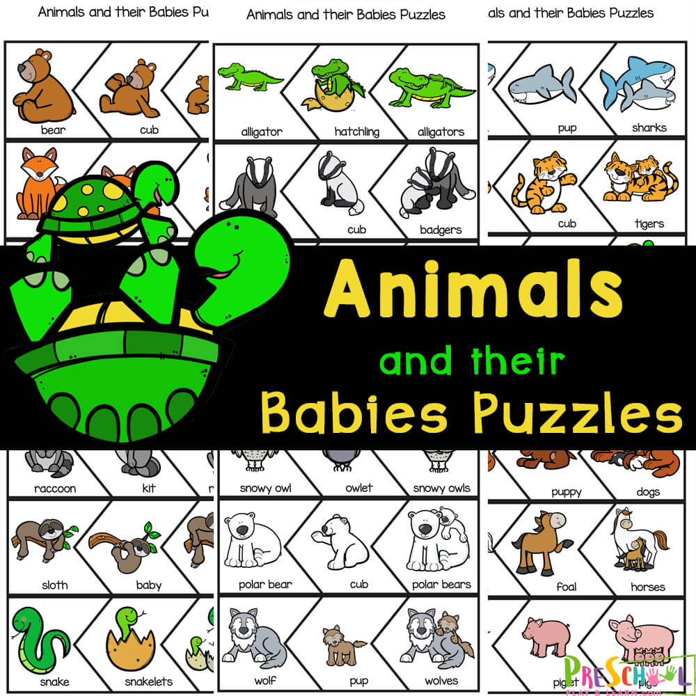 Learn about animals with their babies names with this animal printable puzzles! Simply print to play and learn about moms and children.