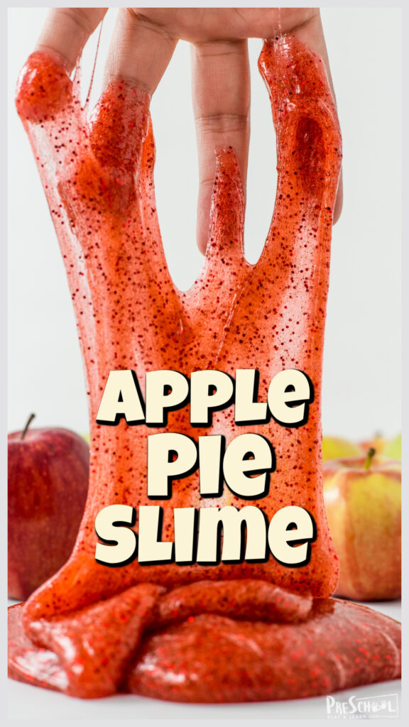Celebrate September with an outrageously run APPLE PIE SLIME! Use with apple activities for preschoolers! Smells amazing for fall play!