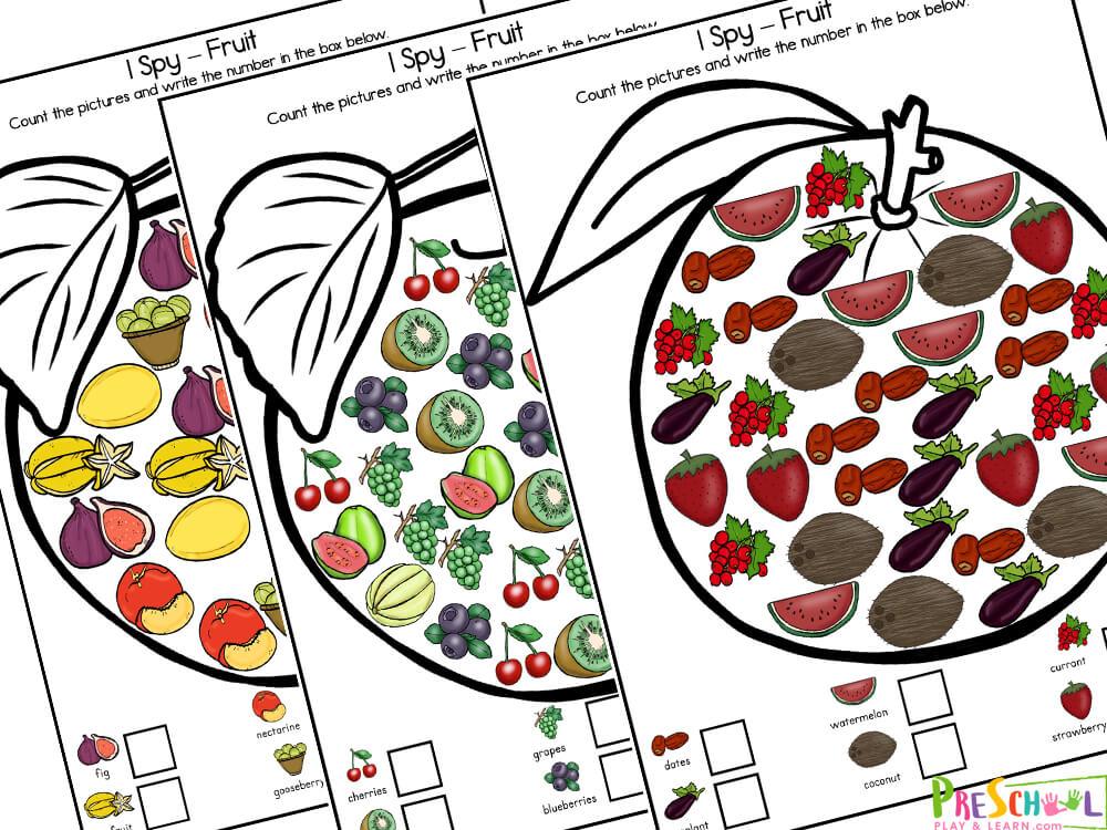 Fruits worksheet for kindergarten
