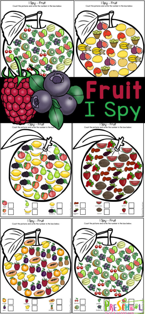 Teach your kids the names of fruits while working on visual discrimination and counting skills with this fruit printables. This fruit worksheets helps children learn to recognize a variety of fruit by name and appearnce while having fun working om ath skills at the same time. This fruits worksheet for kindergarten, preschool, and even first grade is super handy and NO PREP! Simply print thefruits worksheet for preschool and you are ready to play and learn with thisfruit activity for kids.
