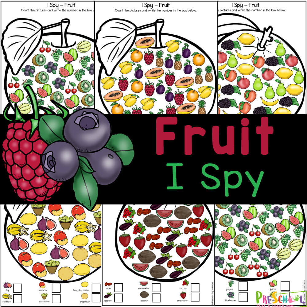 Teach your kids the names of fruits while working on visual discrimination and counting with FREE printable fruit worksheets for preschool.