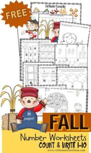 counting fall worksheets for preschoolers