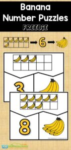 banana fruit printables number puzzles