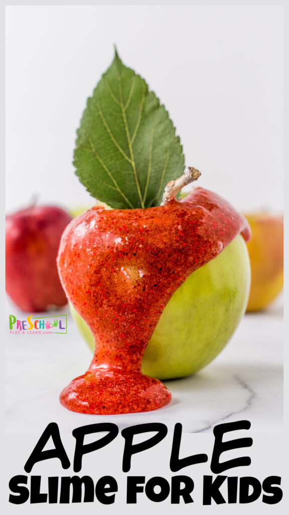 Celebrate September with outrageously run apple activities for preschoolers! Thisapple pie slime not only smells amazing, but is really fun to play with as kids strenthen their hand muscles. Use thisfall sime as anapple activity for kids from toddler, preschool, pre-k, kindergarten, first grade, 2nd grade, and 3rd graders too.
