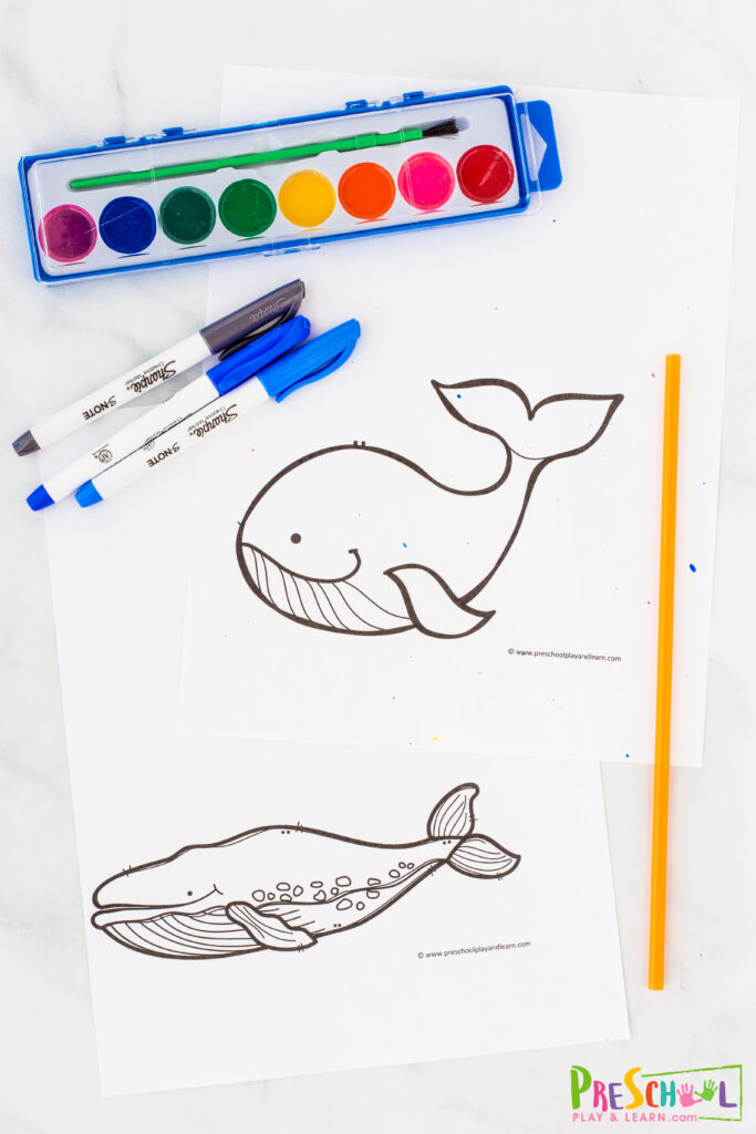 whale template (below) blue watercolor paint paintbrush straw