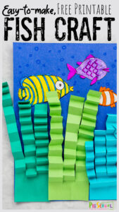 Dive under the sea with this super cute, free printablefish craft for preschoolers. All you need to make thisfish art preschool, pre-k, toddler, kindergarten, first grade,and 2nd grade are a few simple materials including construction paper, crayons, ourprintable fish craft, scissors and glue. This easy fish craft is perfect for the letter f is for fish, o is for ocean, fish theme, or just a simple free printable crafts. Simply printfish craft template and you are ready to make this coolpaper fish craft.