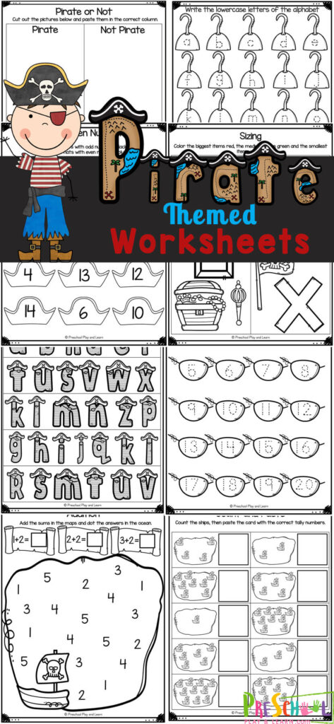 Argh me matey! These free printablepirate worksheets are a fun way for kids to practice math and litearcy skills with a pirate theme. These pirate worksheets for preschool, pre-k, kindergarten, and first grade help children learn all about the letters of the alphabet, counting, and sizing while practicing their handwriting skills. Simply print thepirate printables and you are ready to play and learn with no-preppirate activities.