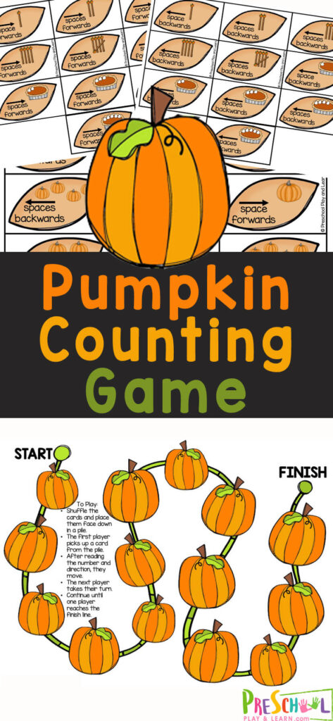 This Pumpkin Counting Game is a great way to work on counting from one through five while playing a fun game. We love sneaking in some fun number sense practice in October withpumpkin math. Thispumpkin counting project is perfect for a pumpkin theme with preschool, kindergarten or even as a fun game for toddlers to learn how to count. Simply print thepumpkin printable and you are ready to try thispumpkin activity for preschoolers.