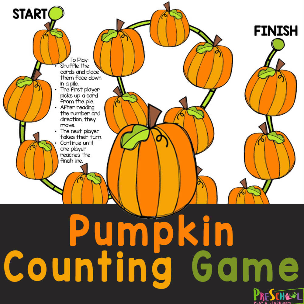 Super cute, free printable, Pumpkin Counting Game works on counting from one through five while playing a fun math game for October.