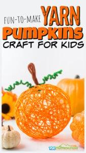 yarn Pumpkin Craft for Kids