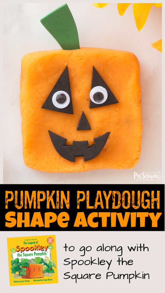 Whip up a batch of thispumpkin playdough to use as a book activity withSpookley the Square Pumpkin! Children can use thepumpkin pie playdough to form different shapes for a funhalloween activity for preschool, toddler, pre-k, kindergarten, and first graders. Thesepumpkin activities are a great extension activity for our favorite Octoober book for kids.