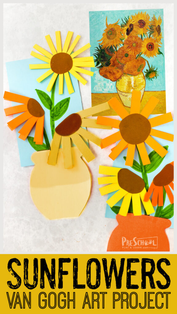 Introduce children to afamous artist for kids with this fun, simple van gogh sunflowers craft. Thisfamous artists project recreates the iconic sunflowers in a new, differetn, and easyflower craft for preschoolers!