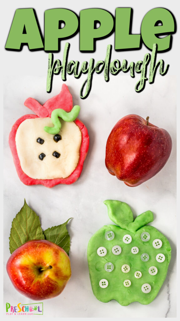 EASYapple playdough recipe is a fun playdoh to use with anapple theme or hands-onactivities for September that will delight the senses!