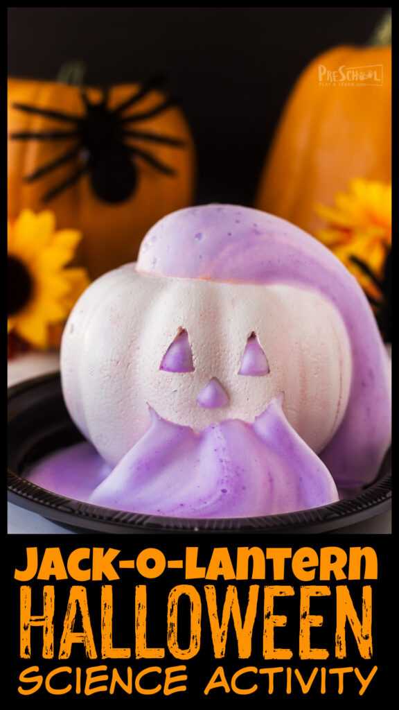 EPIC pumpkin volcano with an abundance of thick foam out of every opening of the Jack-o-Lantern. FUN halloween science experiments!