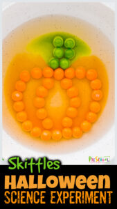 I just LOVE simple science activities that help my kids explore the world around them and wonder WHY things happen. Thishalloween skittles project allows kids to explore how colors diffuse with a really pretty and funpumpkin science experiment.Thishalloween activities is perfect for toddler, preschool, pre-k, kindergarten, and first graders too.