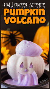 You've got to try this EPIC Jack-o-Lantern pumpkin volcano project! Kids will go nuts when the foam comes pouring out the silly carved pumpkin face in this halloween science experiments! I love teaching pumpkin science by using pumpkin activities to get kids eager to learn and engaged in science! I will show you how to make volcano. These pumpkin science experiments are a MUST try pumpkin STEM with preschool, pre-k, kindergarten, first grade, 2nd grade, and 3rd graders too.