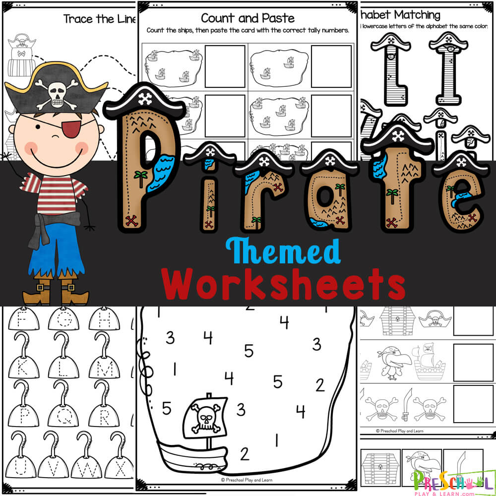 Cute, free printablepirate worksheets to practice math and litearcy skills with a pirate theme. Siimply print and work through activities.