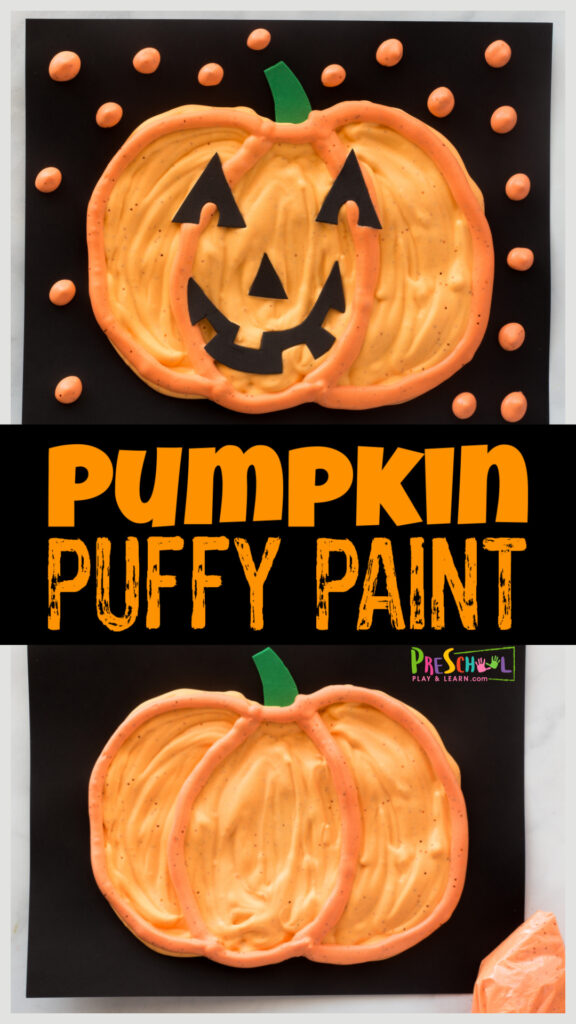 Whip up a batch of this quick and easypumpkin puffy paint recipe to make scented fall crafts for preschoolers and all ages!