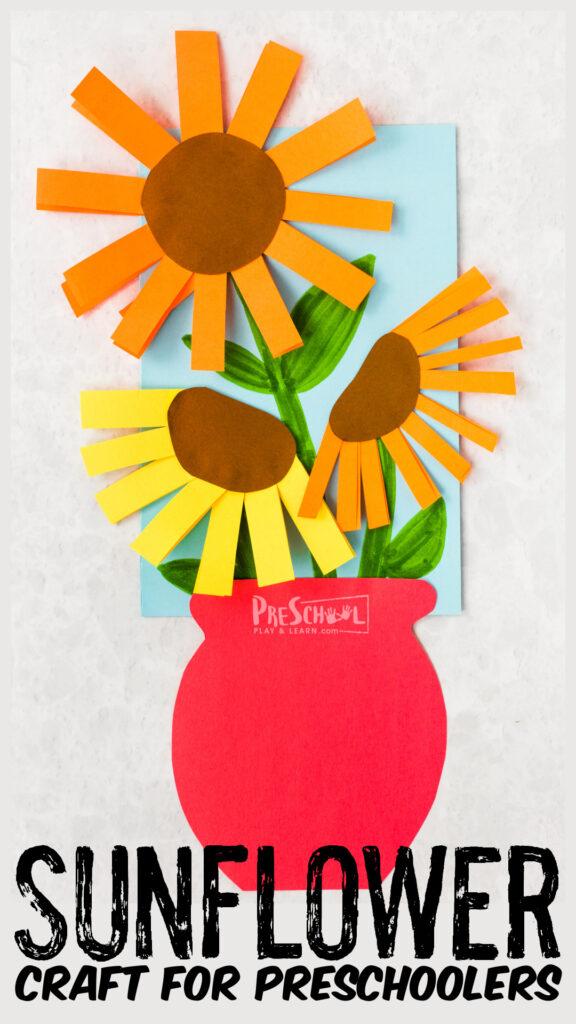 Make pretty Van Gogh sunflowers craft to learn about this famous artist with an easyflower craft for preschoolers!