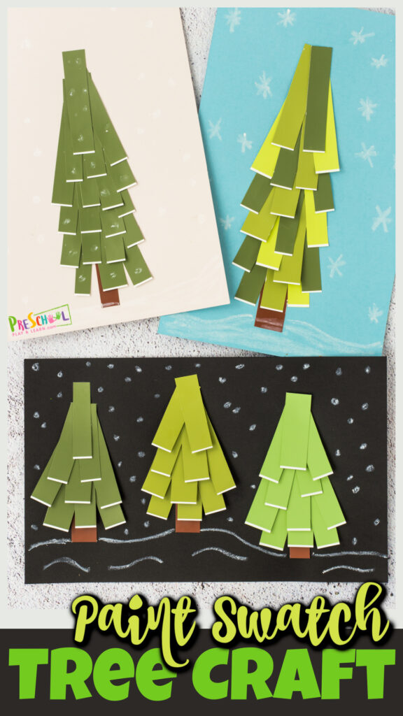 I love using a variety of different materials to make really fun, pretty, and unique craft projects with kids. So as the seasons begin to change, I decided to make a funtree craft for preschoolers. For thesetree crafts for kids we used paint swatches to get different shades and colors to make a fun effect with ourtree arts and crafts. You can turn this into a prettywinter craft for preschool, toddler, pre-k, kindergarten, first grade, and 2nd graders or a colorfulfall craft if you prefer.